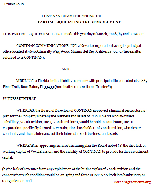 Partial Liquidating Trust Agreement