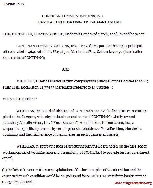 Partial Liquidating Trust Agreement