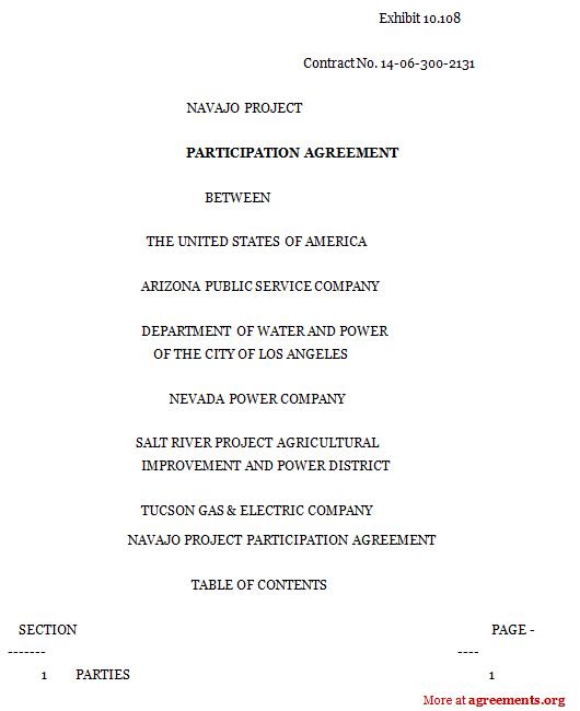 Participation Agreement