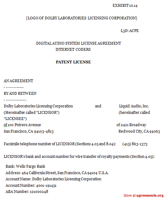 Patent License Agreement Sample Patent License Agreement