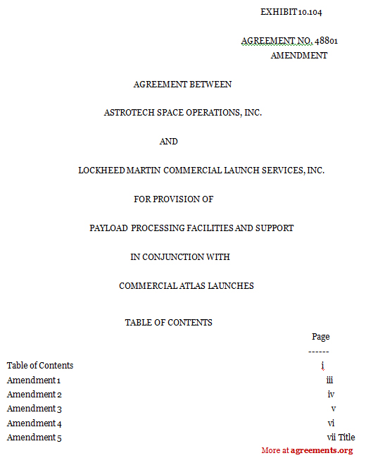 Payload Processing Facilities and Support Agreement