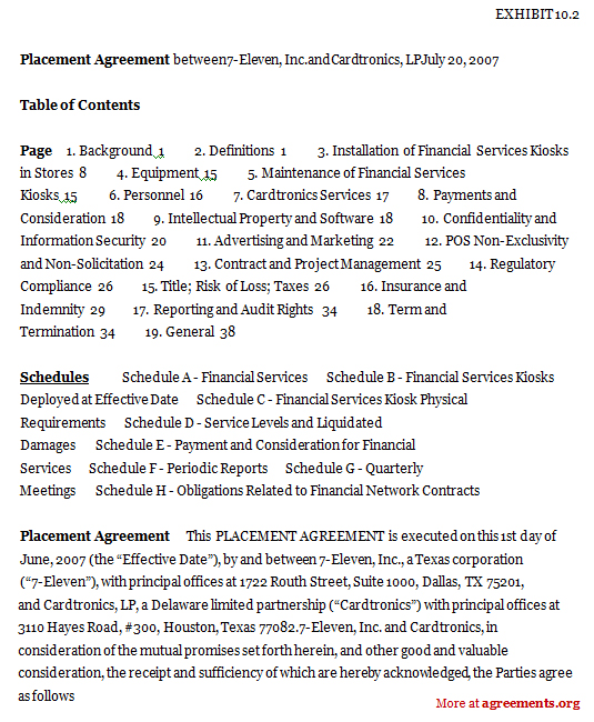 Placement Agreement