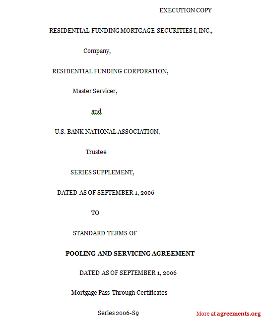 Pooling and Servicing Agreement Template