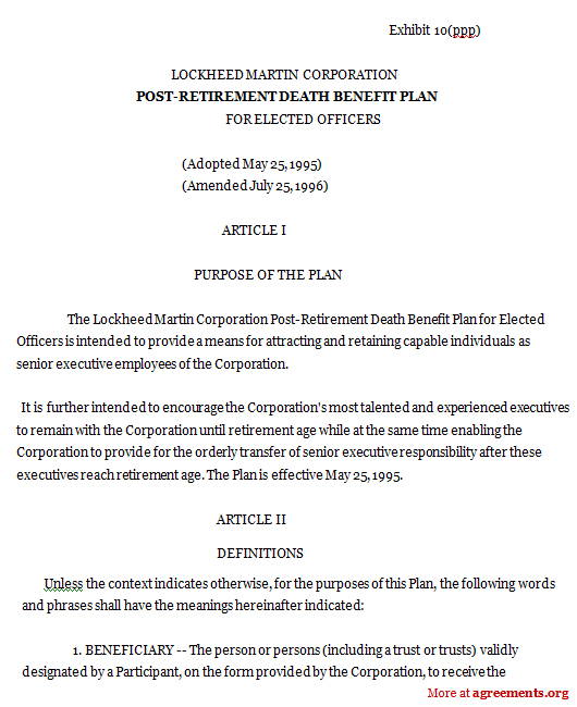 Download Post Retirement Death Benefit Agreement Template