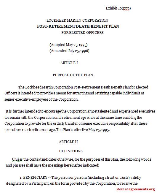 Download Post Retirement Death Benefit Agreement Template
