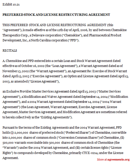 Preferred Stock And License Restructuring Agreement Sample