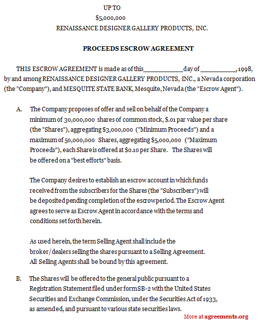 proceeds escrow agreement  sample proceeds escrow agreement