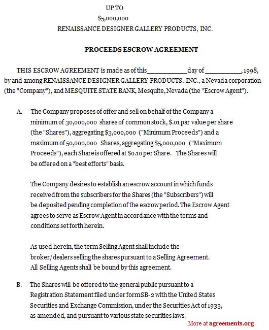 Proceeds Escrow Agreement