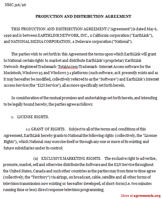 Production and Distribution Agreement