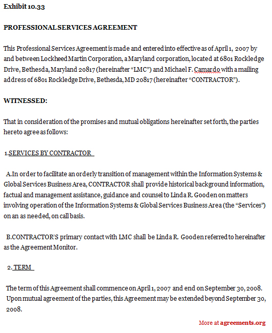 Download Professional Service Agreement Template