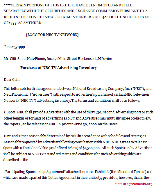 Purchase of NBC TV Advertising Agreement