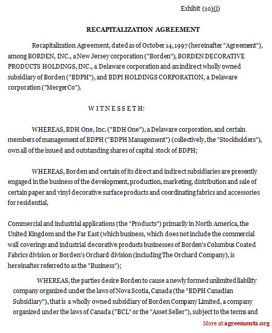 Recapitalization Agreement