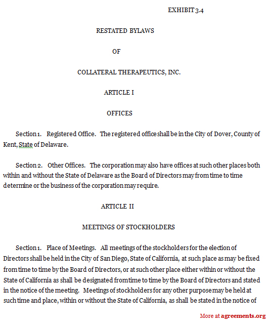 Restated Bylaws Agreement