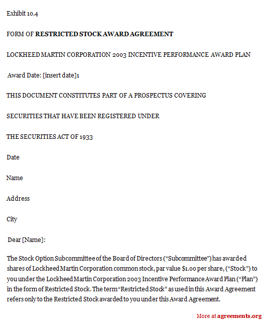 Restricted Stock Award Agreement