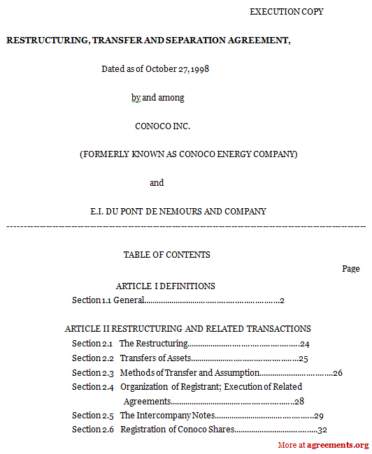 Restructuring Transfer And Separation Agreement Sample