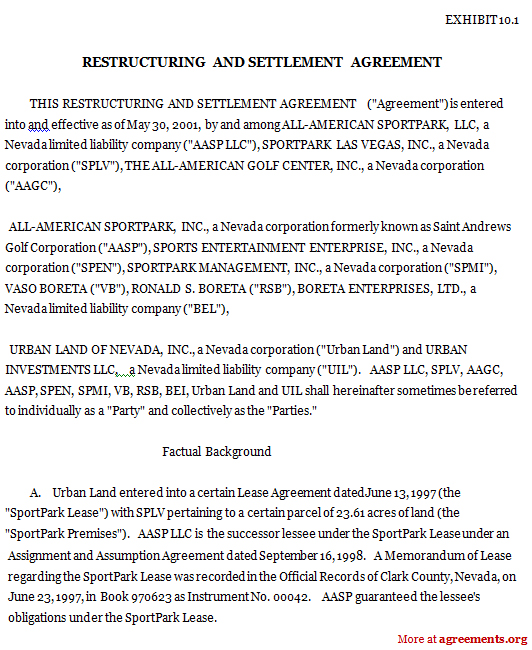 Restructuring And Settlement Agreement Sample Restructuring And