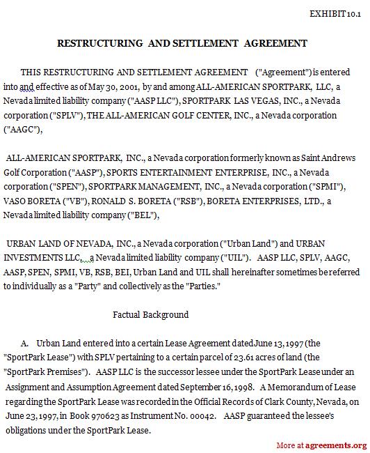 sample debt settlement agreement