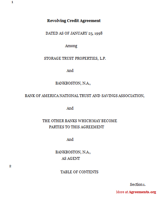 Download Revolving Credit Agreement Template