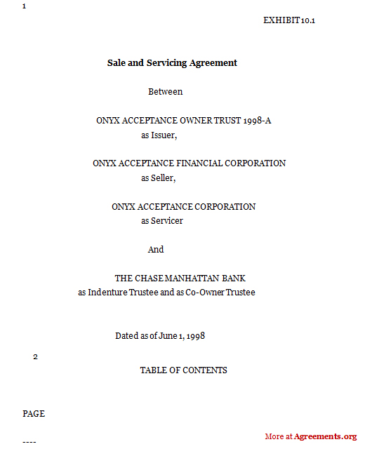 Download Sale and Servicing Agreement Template