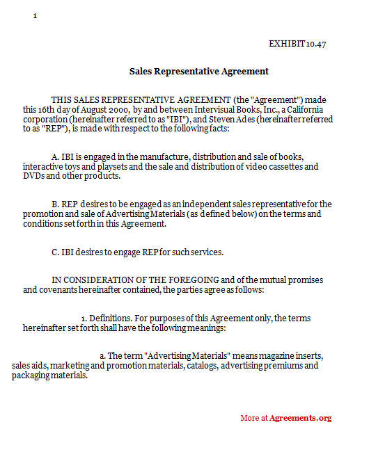 Sales Representative Agreement Download Pdf Agreements Org