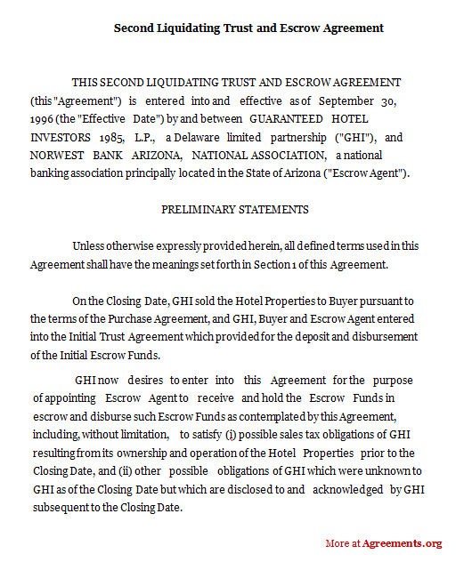 Second Liquidating Trust and Escrow Agreement