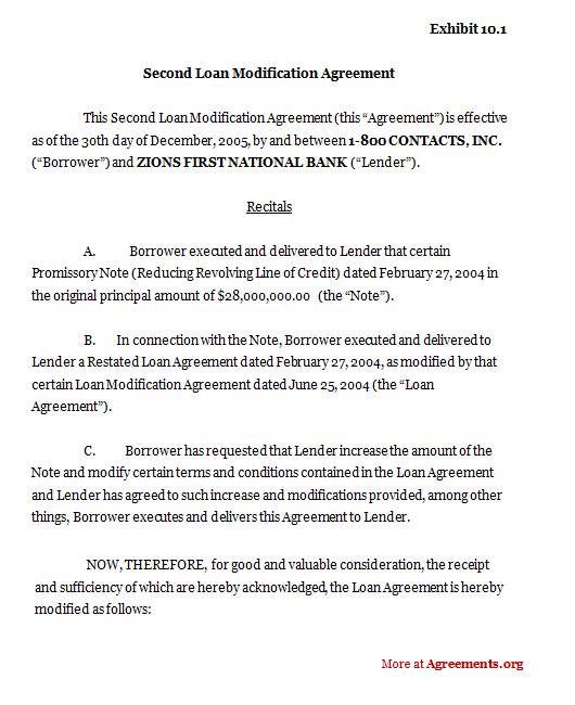 Second Loan Modification Agreement