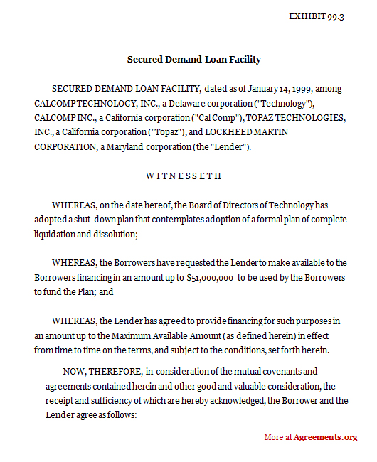 Download Secured Demand Loan Facility Agreement Template
