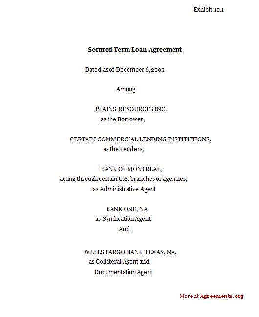 Secured Term Loan Agreement