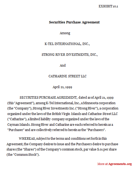 Securities Purchase Agreement