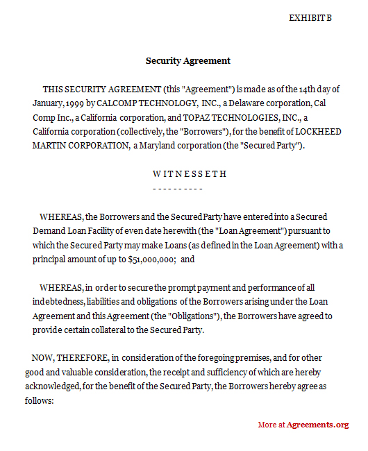 Security Agreement – Security Agreement Template