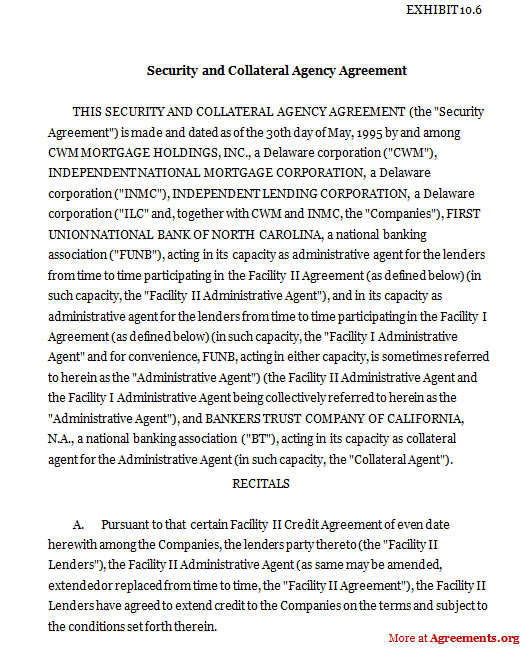 Security And Collateral Agency Agreement | Agreements.Org