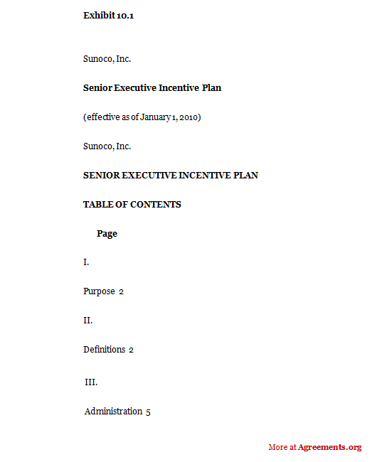 Senior Executive Incentive Plan