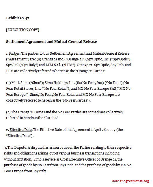 Settlement Agreement and Mutual General Release