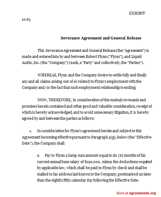 Download Severance Agreement and General Release Template
