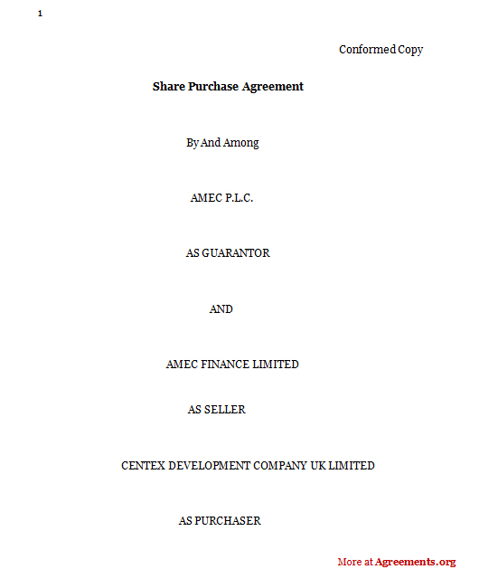 Share Purchase Agreement Sample Share Purchase Agreement