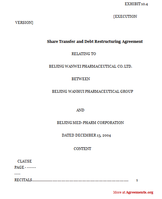 Share Transfer And Debt Restructuring Agreementsample Share