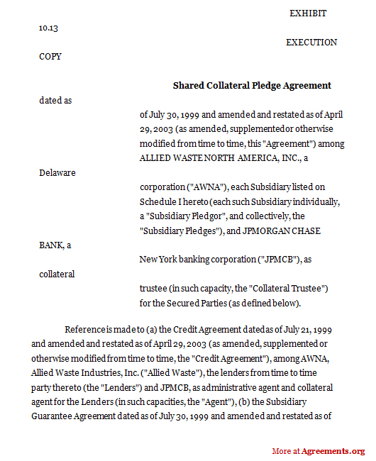 Download Shared Collateral Pledge Agreement Template