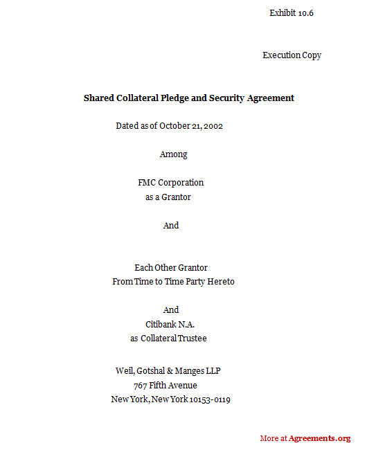 Shared Collateral Pledge And Security Agreement, Sample Shared