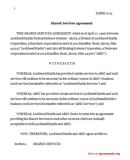 Shared Services Agreement