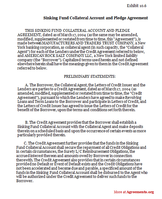 Sinking fund collateral account and pledge agreement