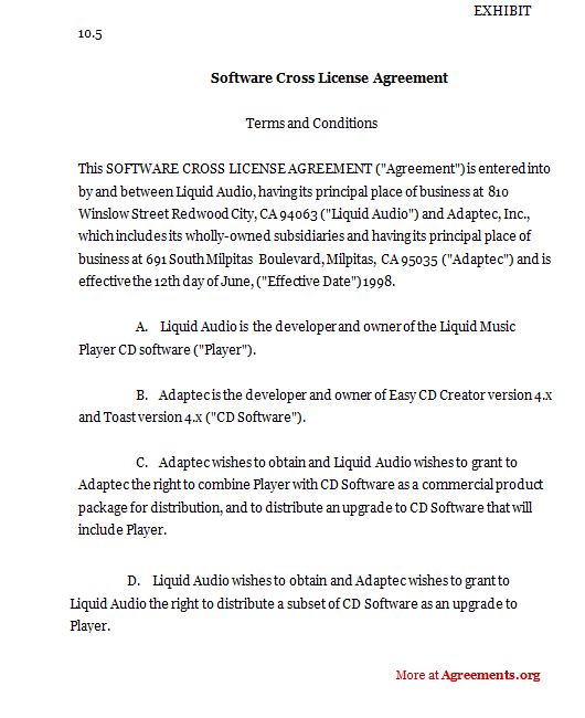 Software Cross License Agreement Sample Software Cross License