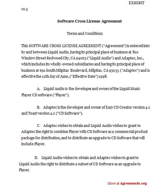 Software Cross License Agreement