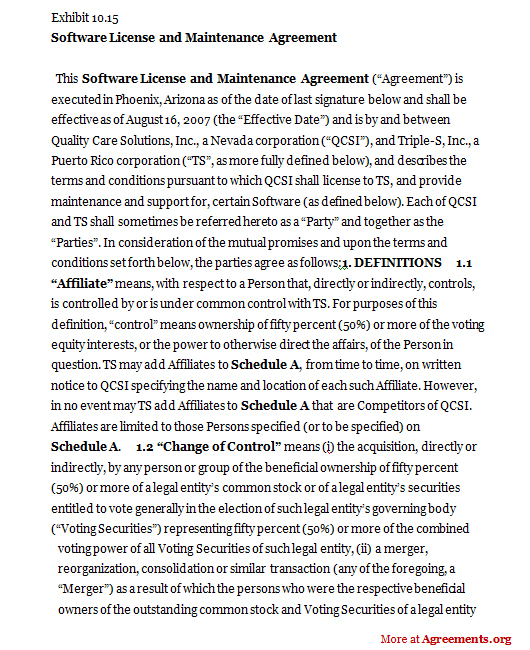 Software License and Maintenance Agreement