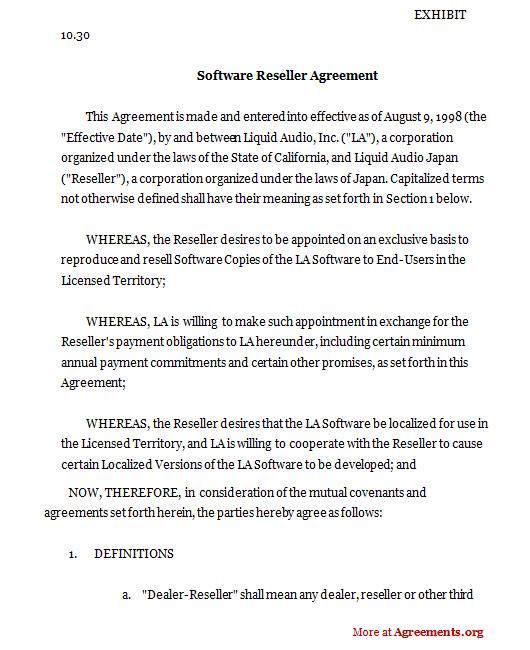Software Reseller Agreement
