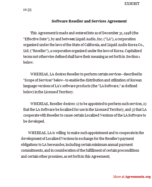 Software Reseller and Services Agreement