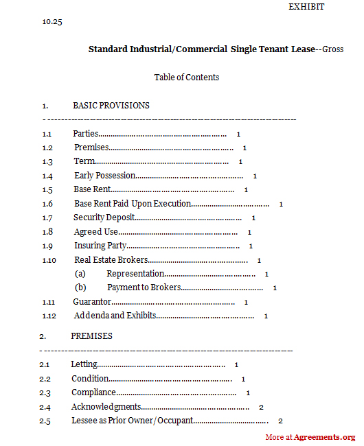 Standard Industrial Commercial Single Tenant Form