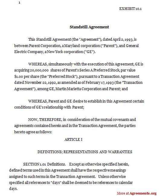 Standstill Agreement Template Download Pdf Agreements Org
