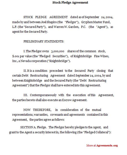 Stock Pledge Agreement