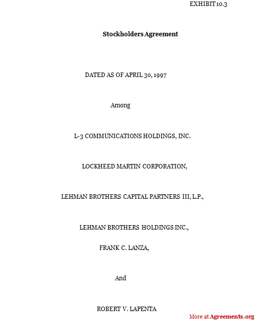 Stockholders Agreement Template- Download PDF