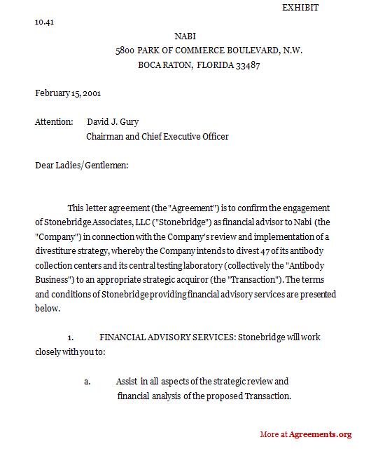 Stonebridge Associates Agreement